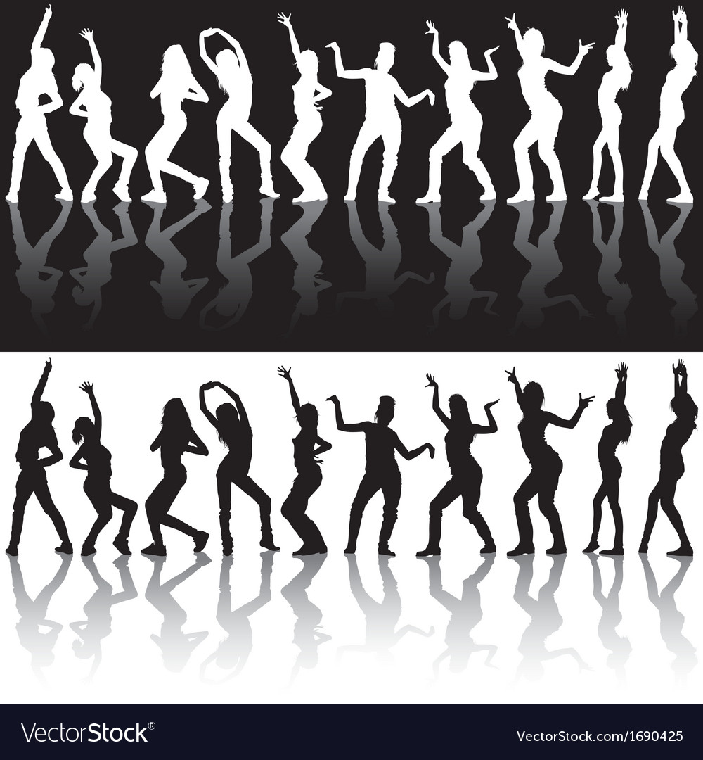 Dancing Girls Silhouettes vector image