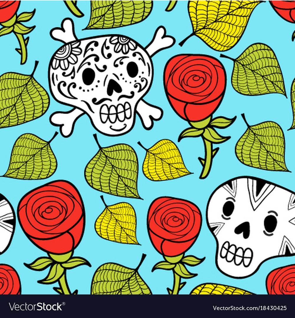 Endless Wallpaper With Roses And Sugar Skulls