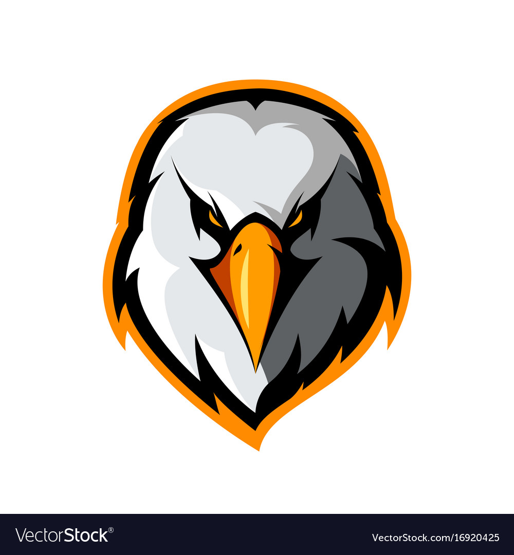 Furious eagle head athletic club logo vector image