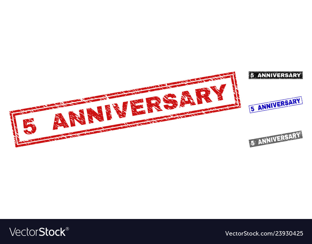 Grunge 5 anniversary scratched rectangle