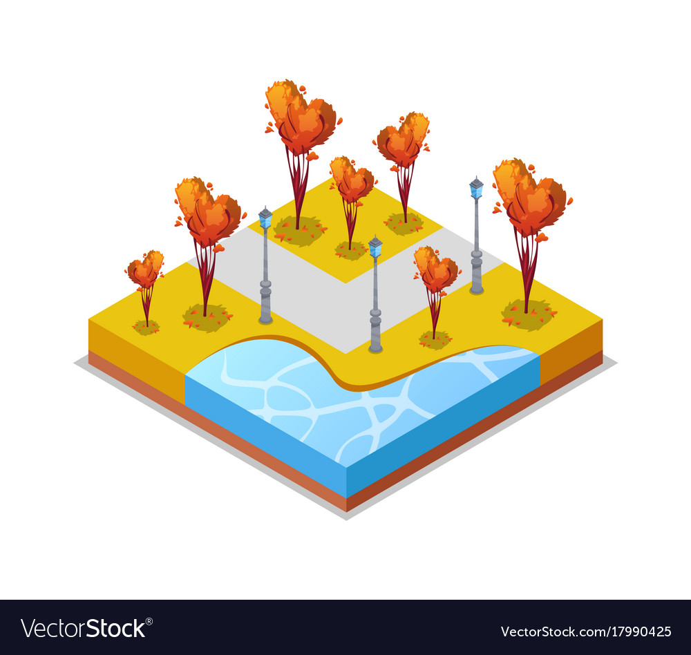 Park zone with trimmed trees isometric 3d icon vector image