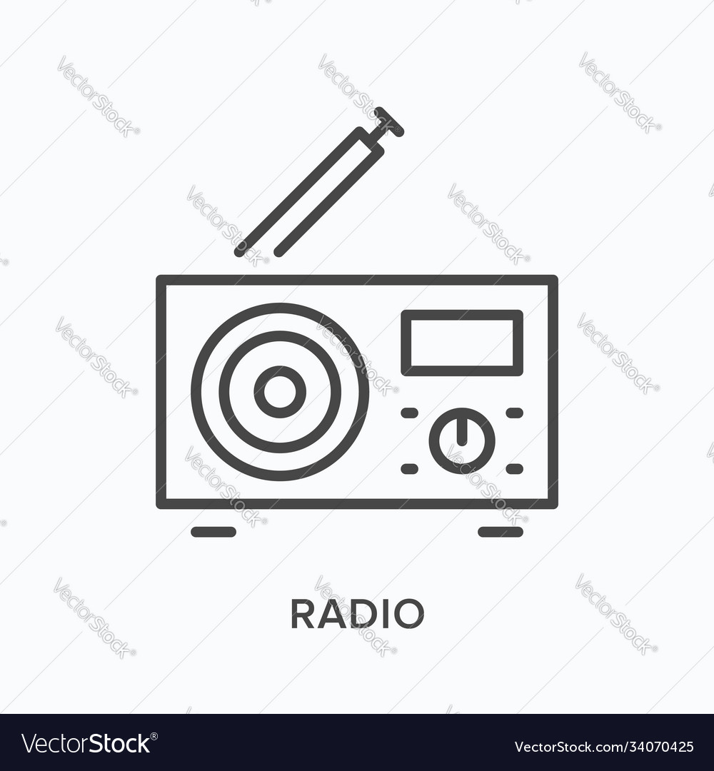 Radio with antenna flat line icon outline