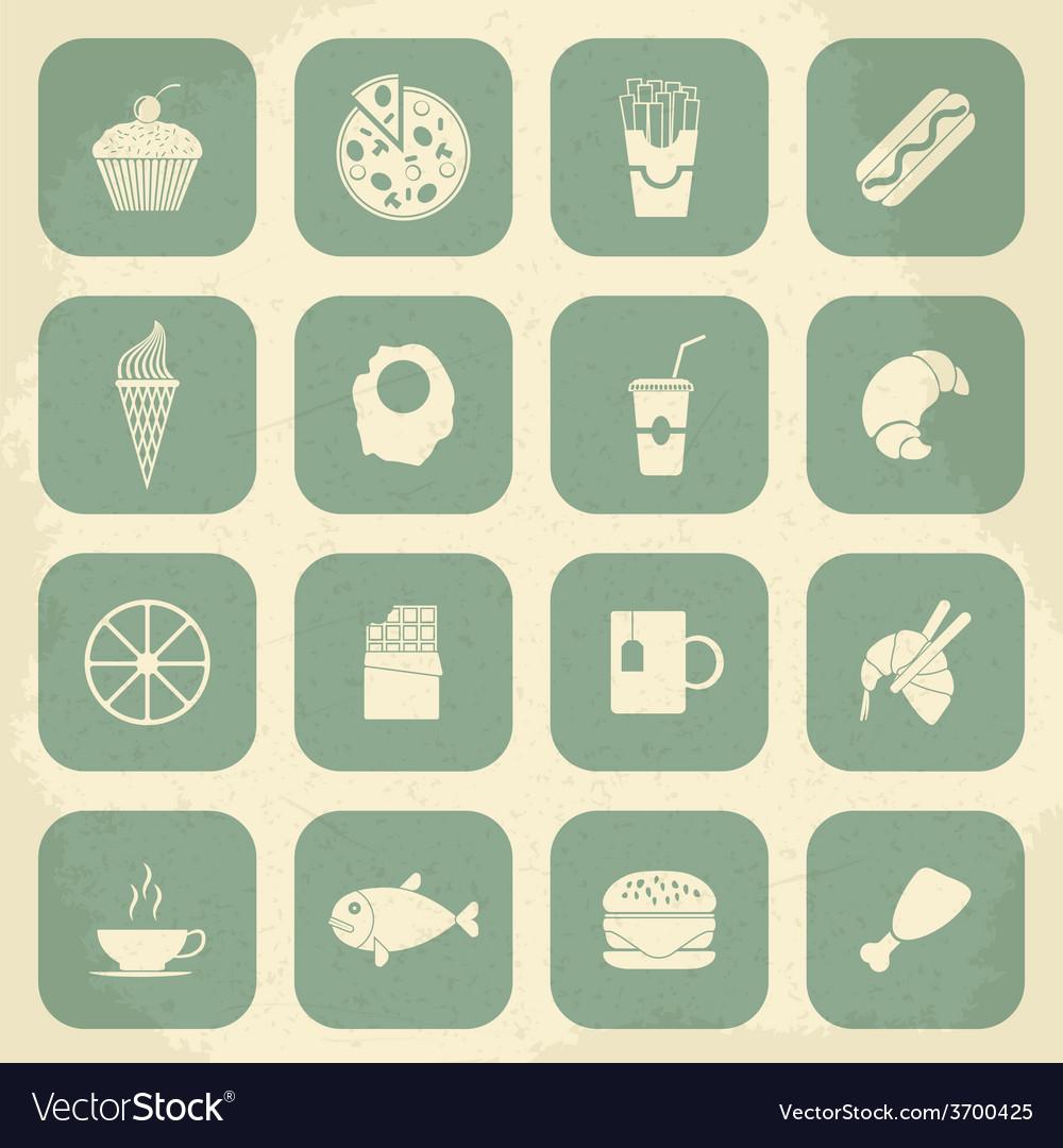 Retro Food Icons vector image