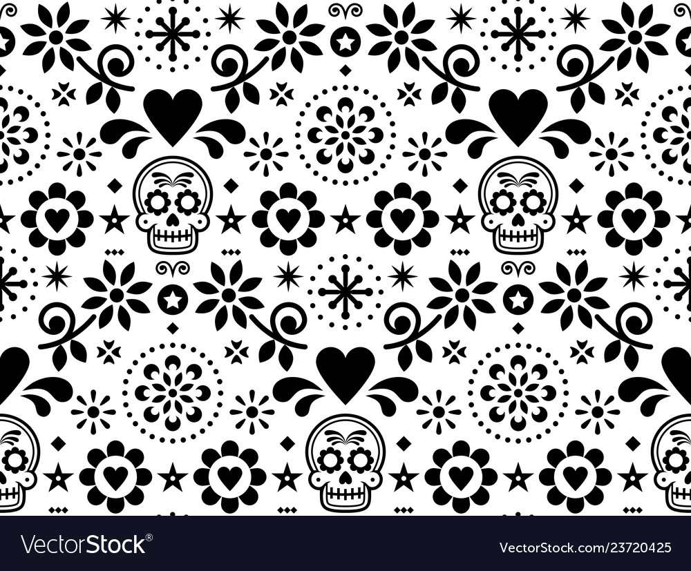 Sugar skull seamless pattern - mexican