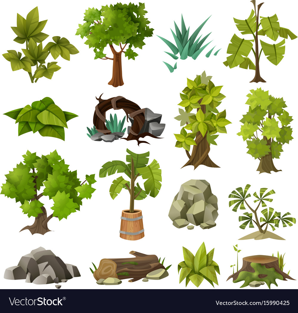 Trees Plants Landscape Gardening Elements Vector Image
