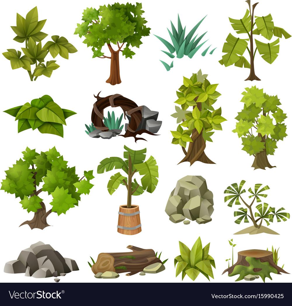 Trees Plants Landscape Gardening Elements Vector Image