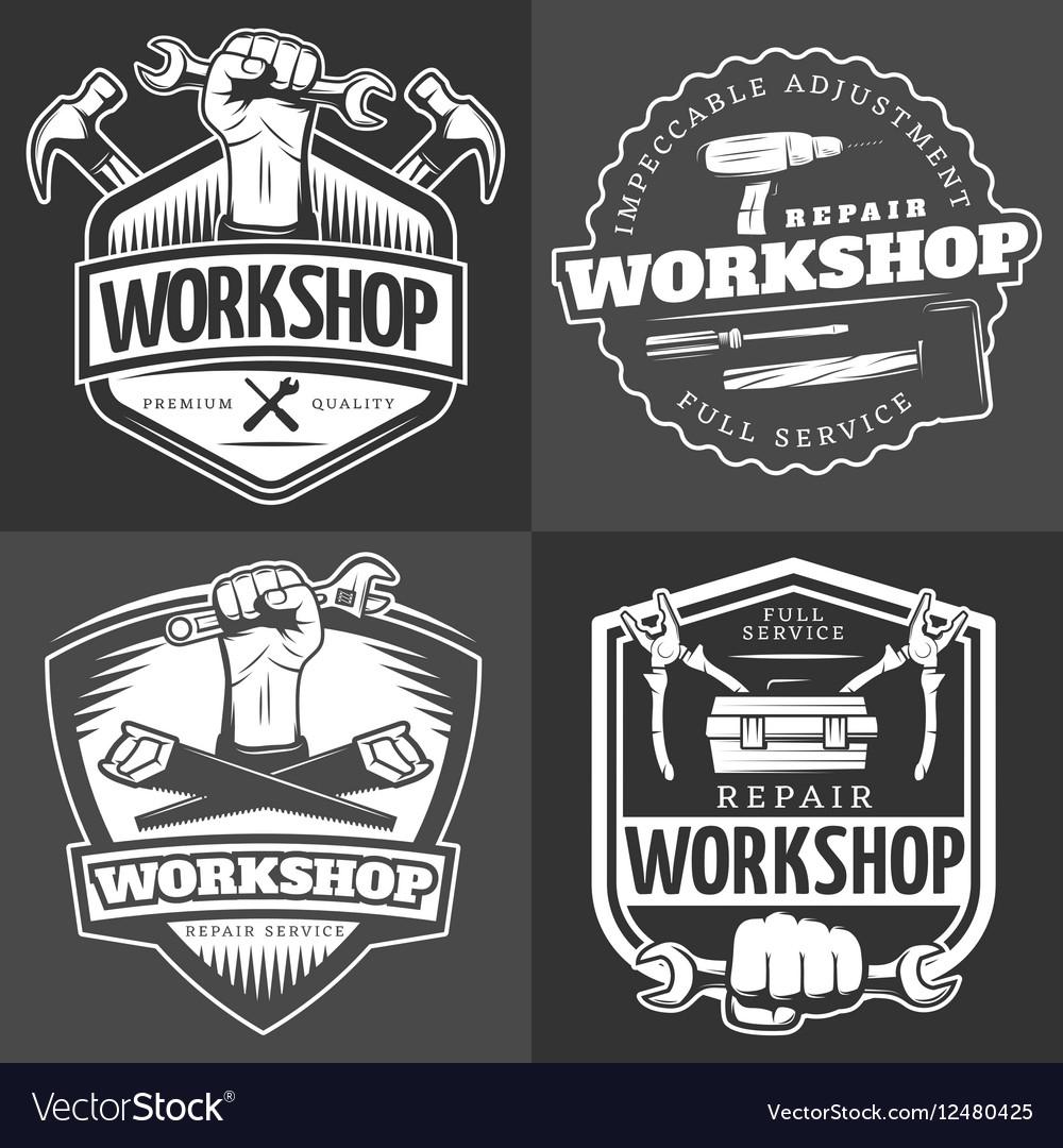 Vintage repair workshop logo set