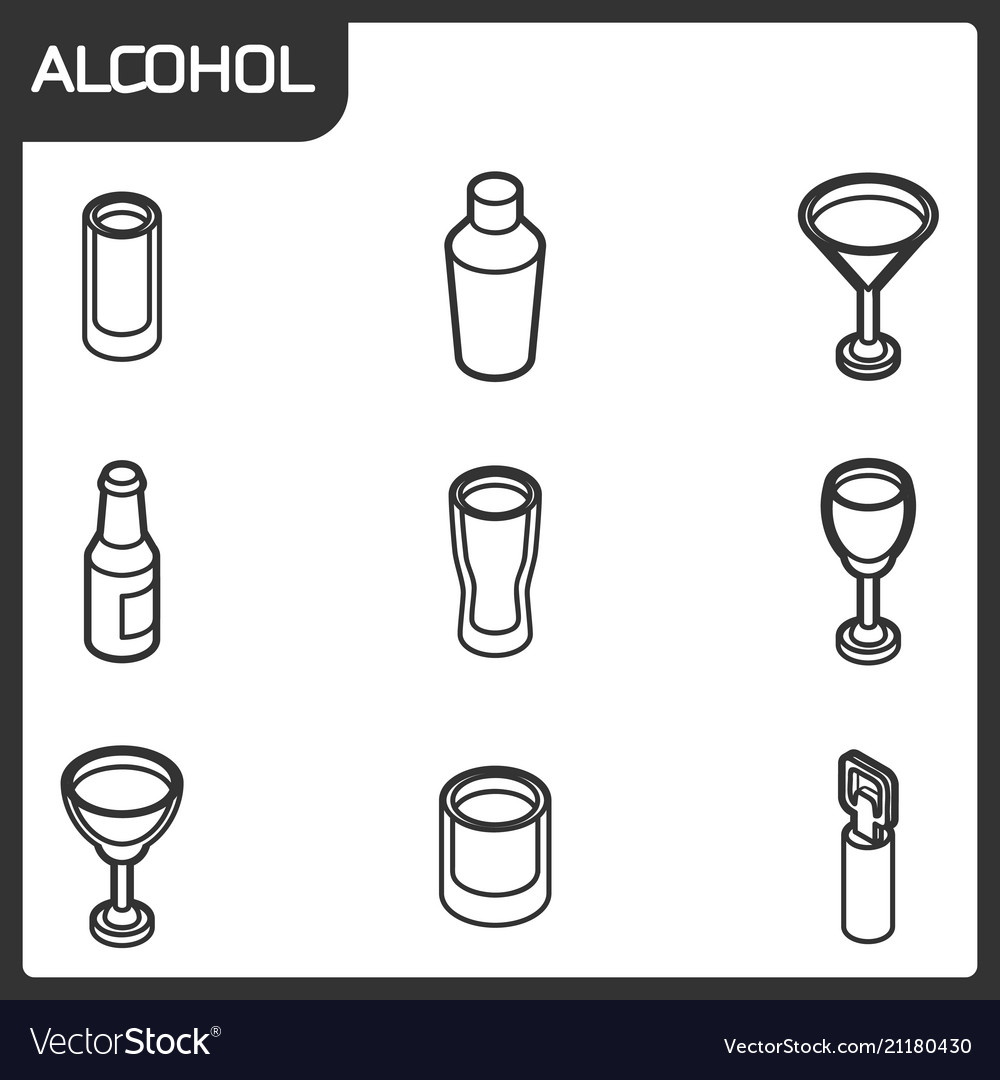 Alcohol outline isometric icons
