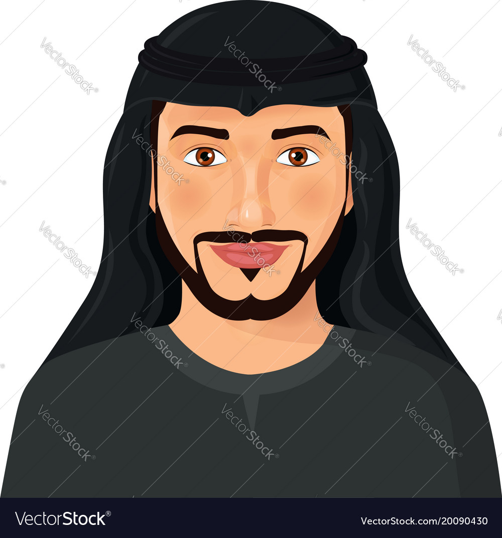 arabian man face front view isolated on avatar vector image