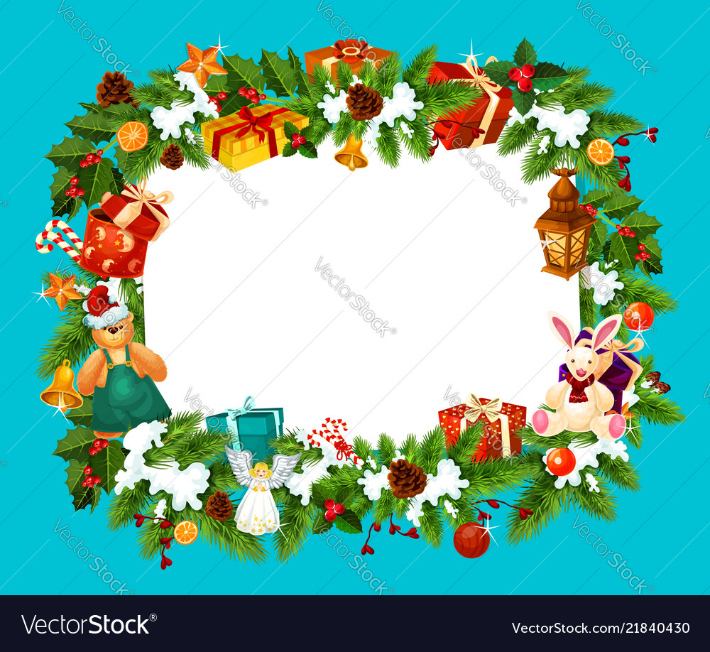 Christmas Holiday Greeting Card Frame Royalty Free Vector