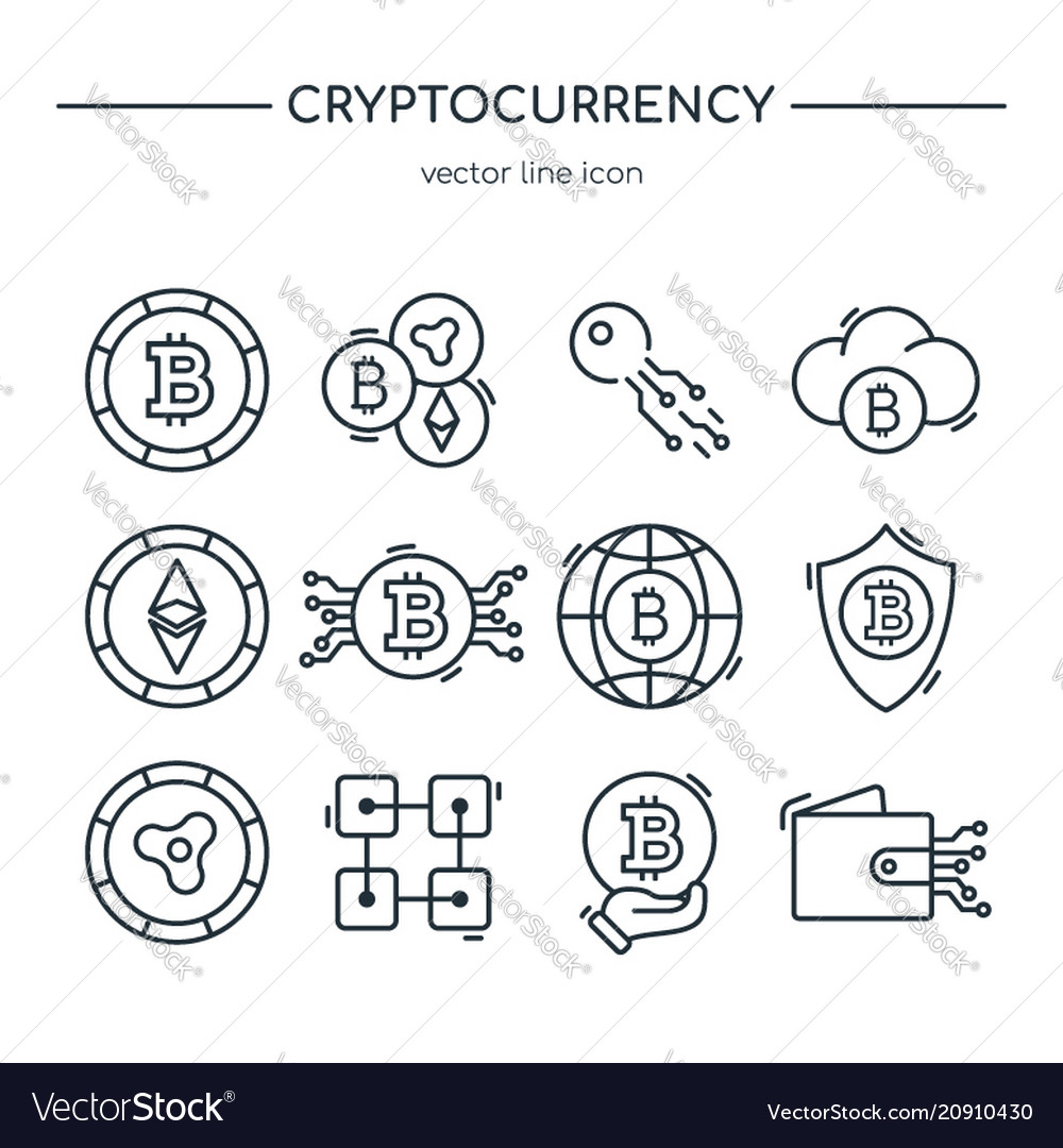 Collection of cryptocurrency line icons virtual