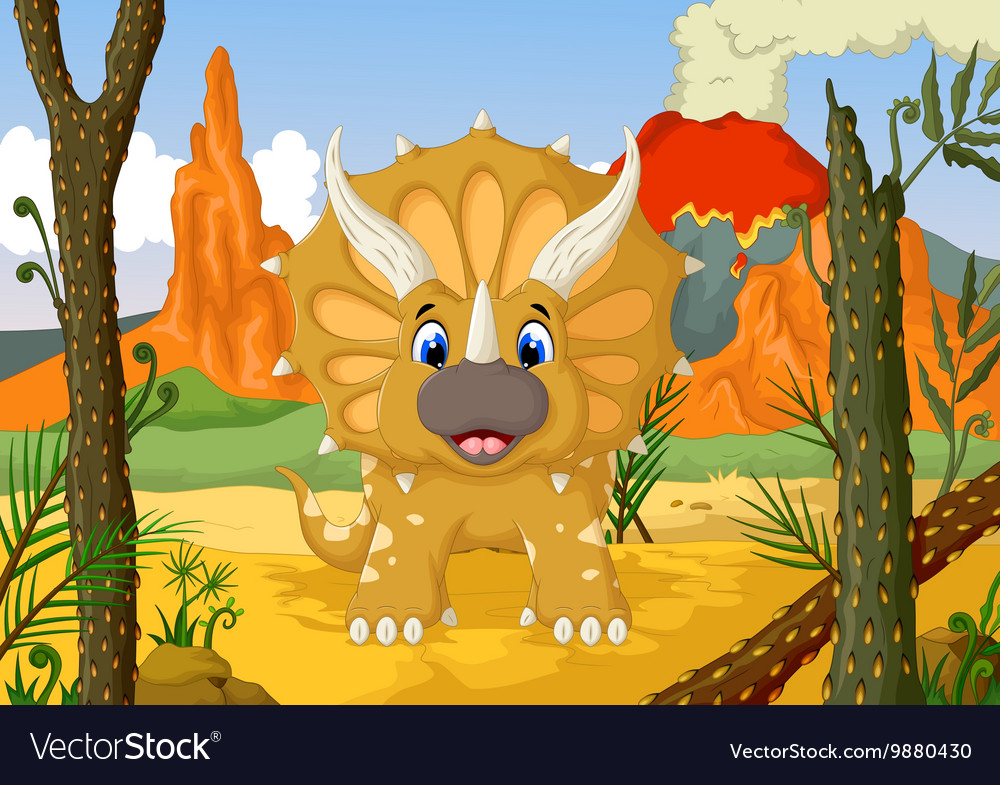 Funny Triceratops cartoon with volcano