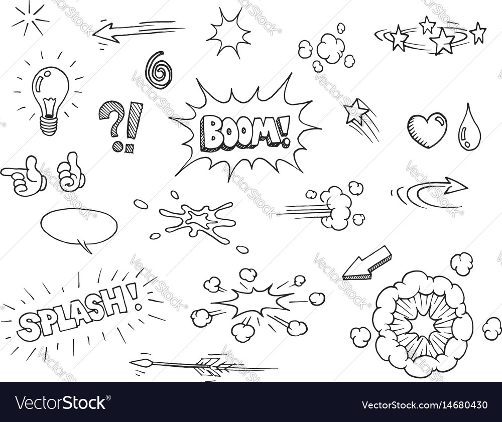 Hand drawn comic elements vector image