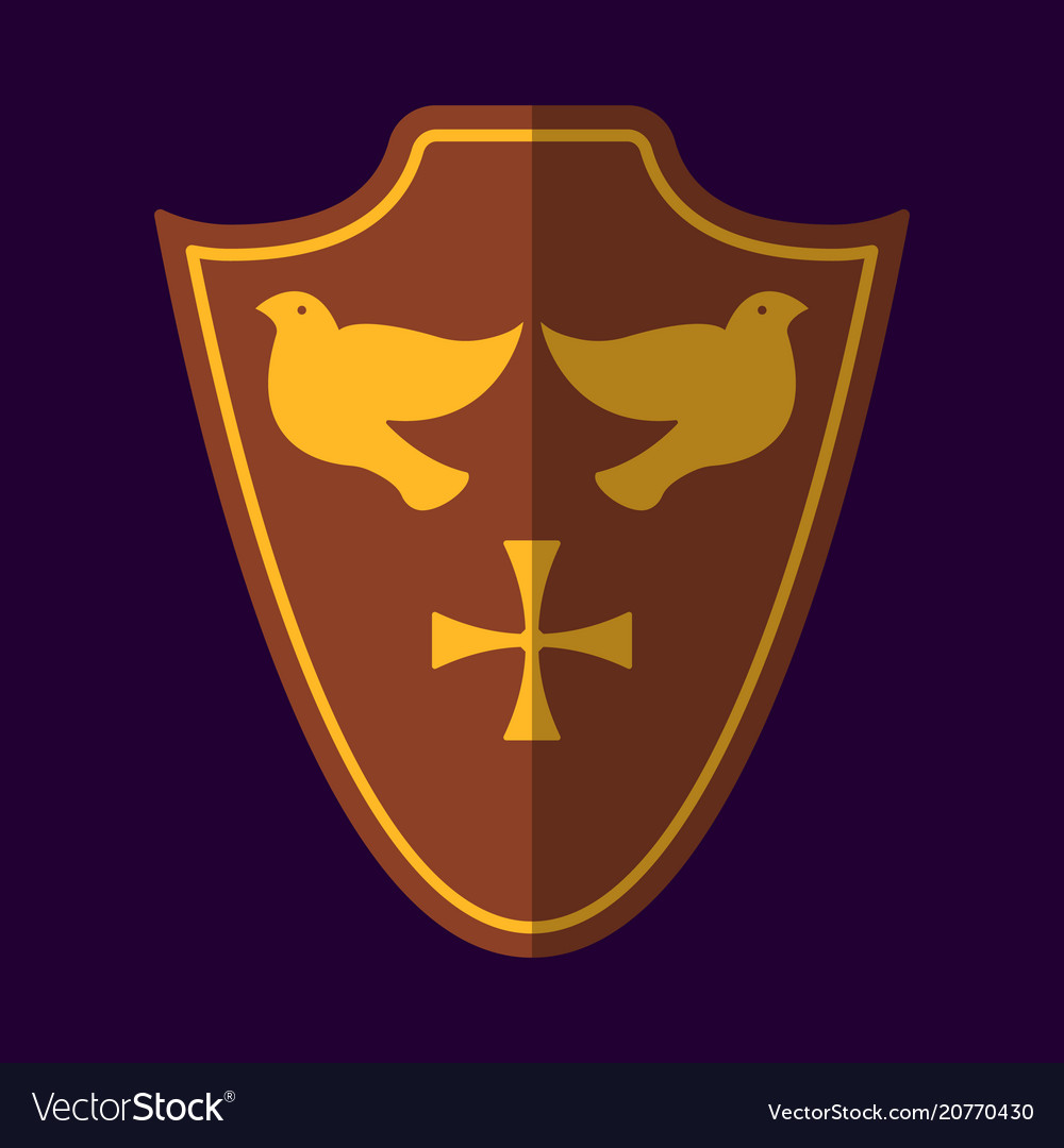 Medieval shield icon and label flat style logo