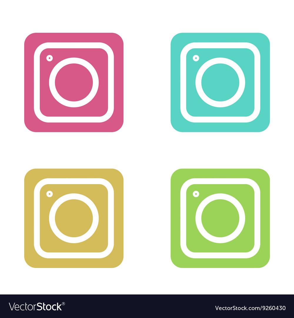 Modern colorful flat camera app set for