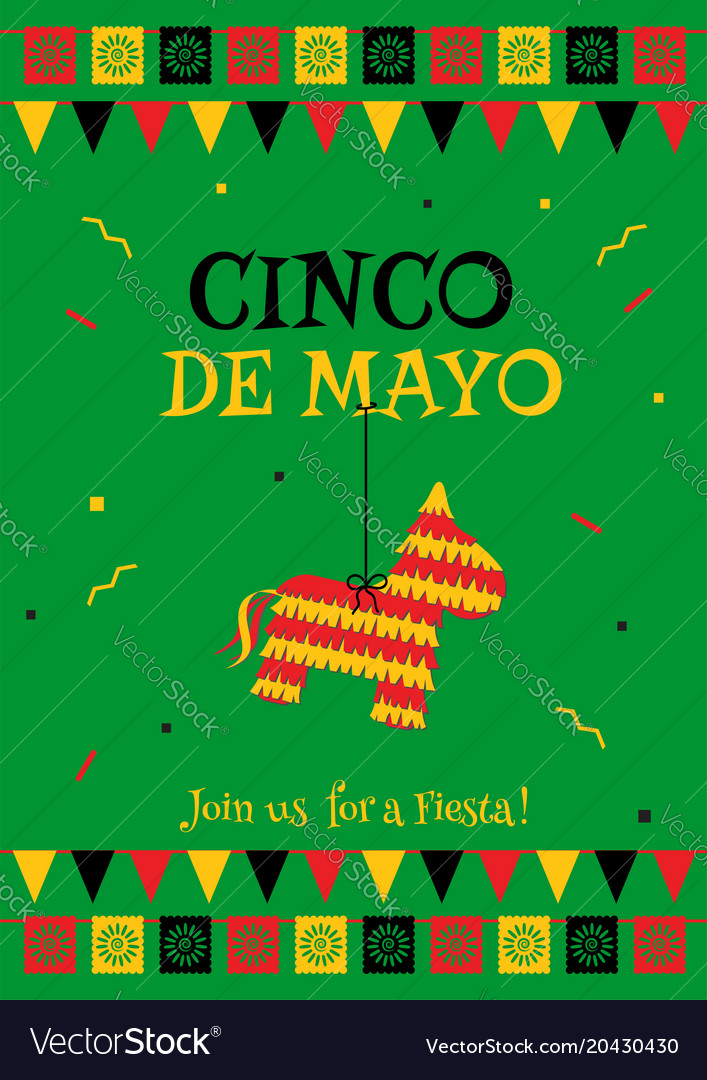 pinata cinco de mayo green party poster template vector image