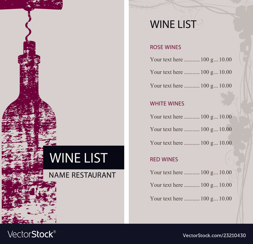 Restaurant wine list with bottle and corkscrew
