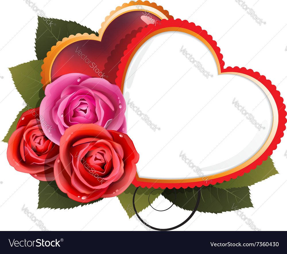 Roses and hearts Valentines Day card