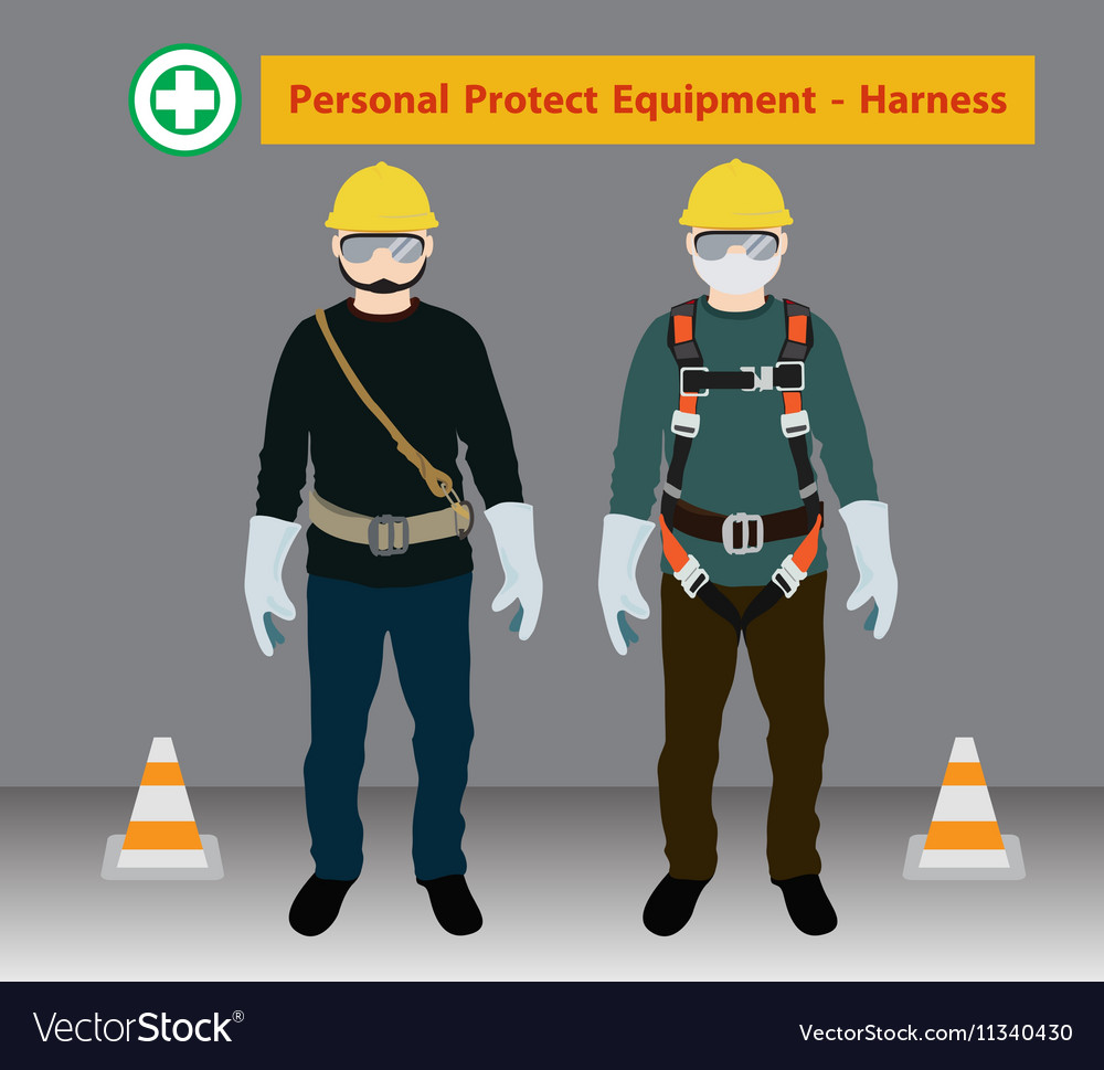 Safety Harness Equipment And Lanyard For Work At Vector Image