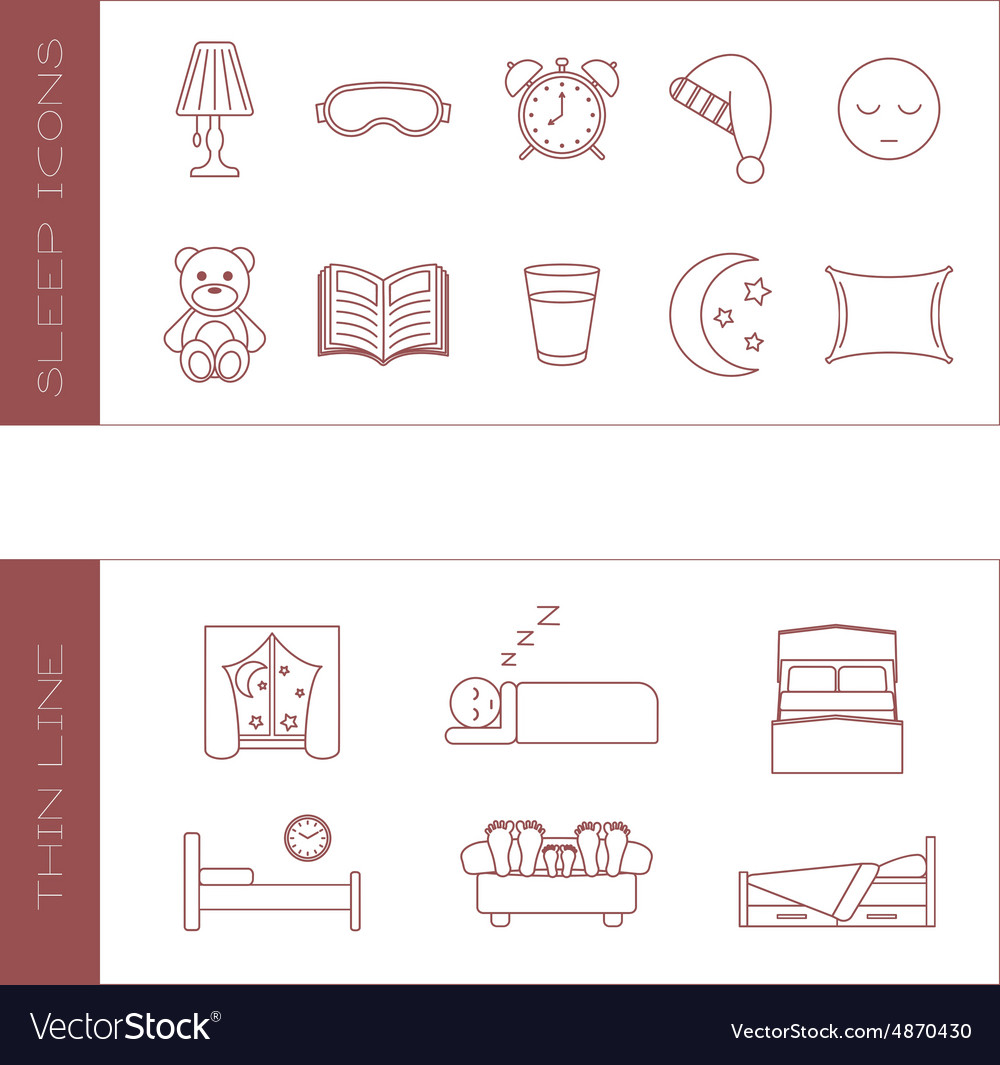 Set of isolated sleeping thin lined outlined icons