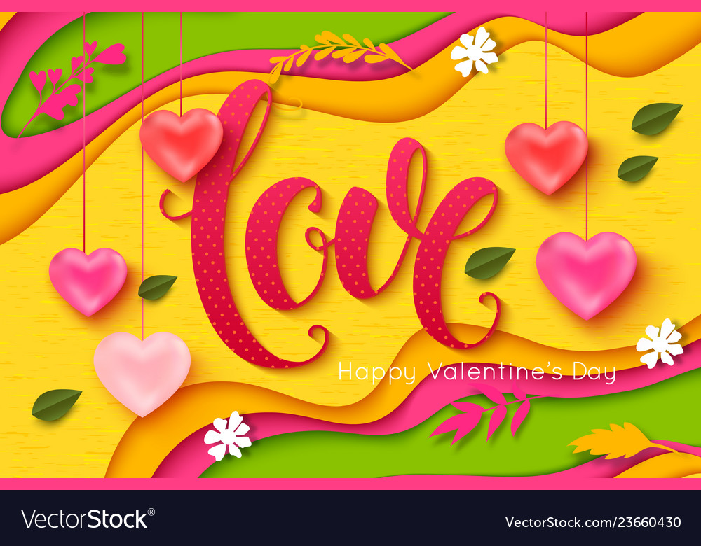 Valentines day background love lettering