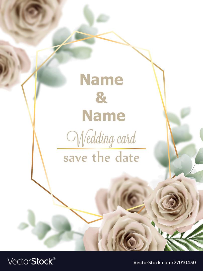 Wedding card roses vintage decor design frame