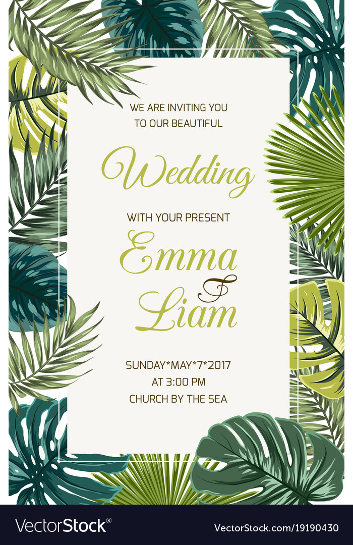 Wedding invitation card template tropical leaves Vector Image