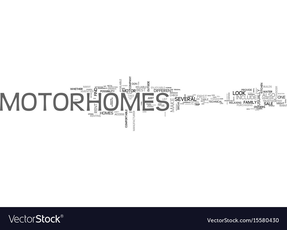 What to look for in motor homes text word cloud