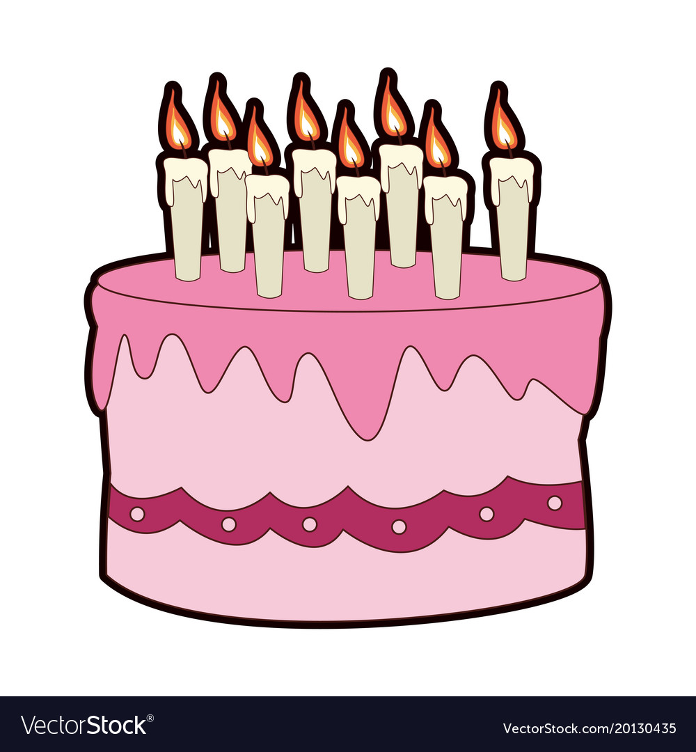 Outstanding Birthday Cake Cartoon Royalty Free Vector Image Funny Birthday Cards Online Elaedamsfinfo