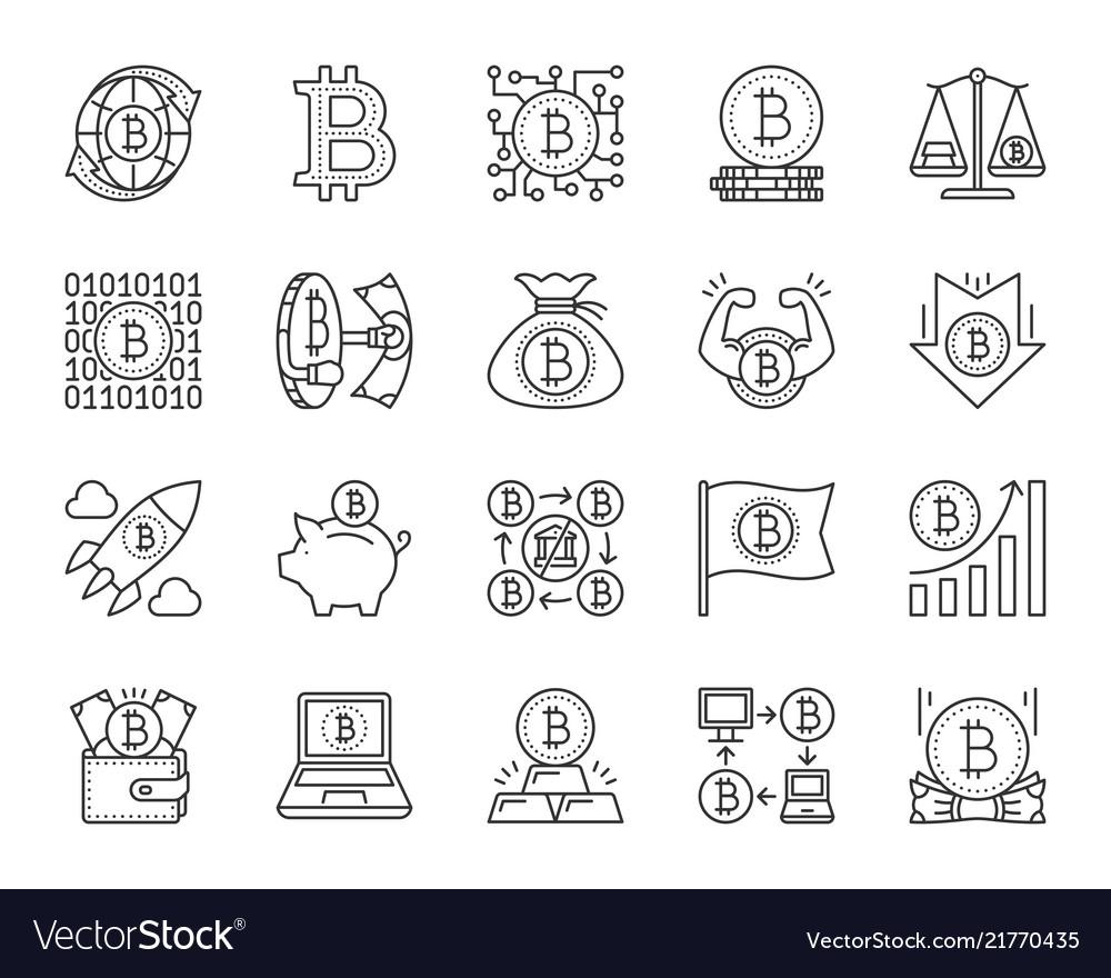 Bitcoin simple black line icons set