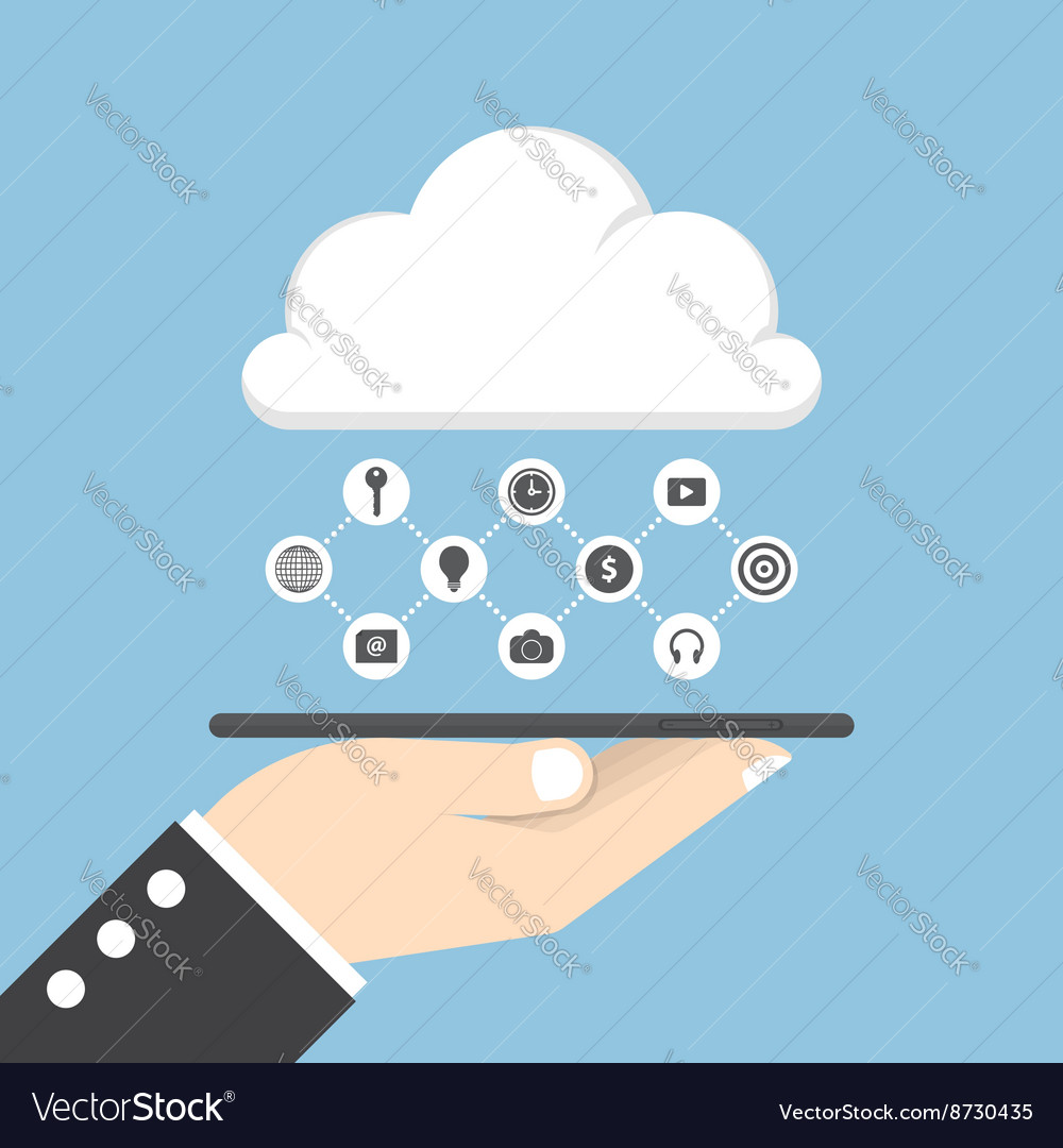 Businessman hand holding tablet with cloud