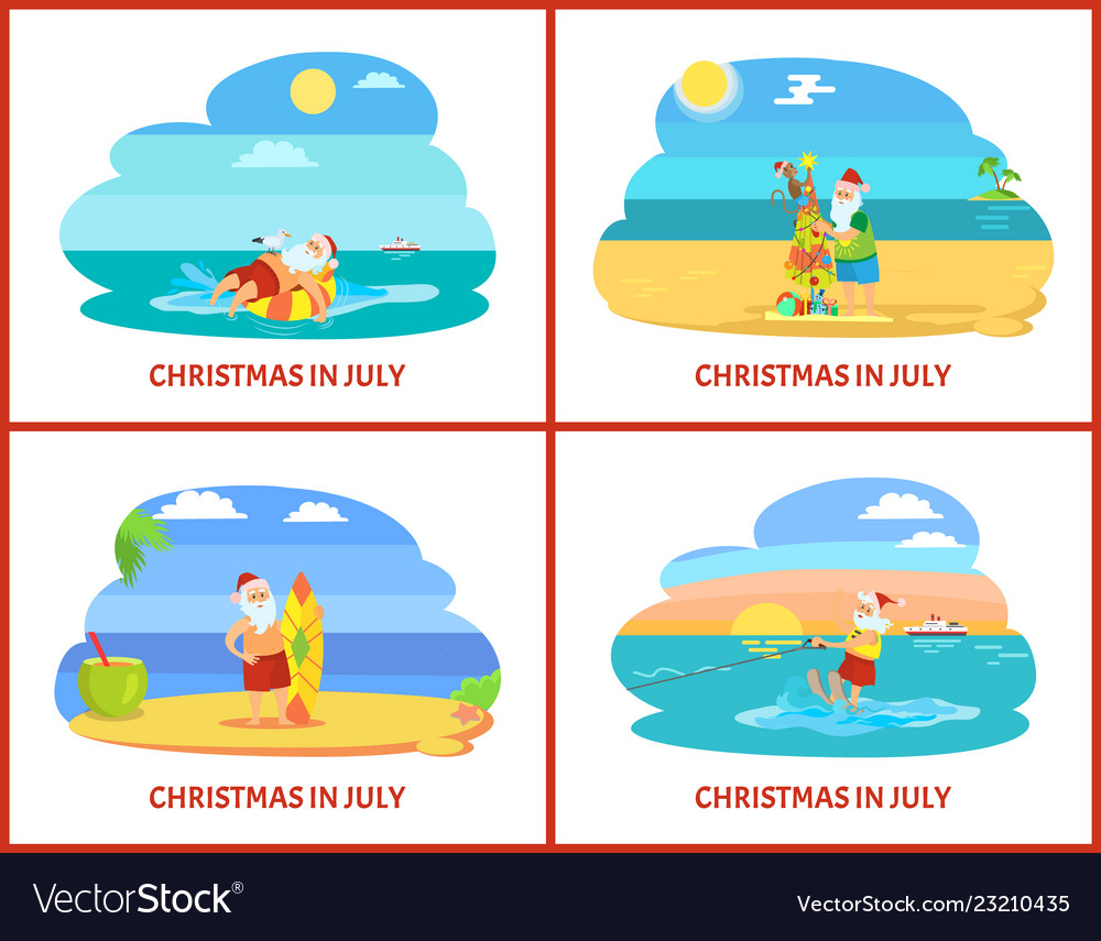 Christmas In July Royalty Free Images.Cartoon On Beach In July
