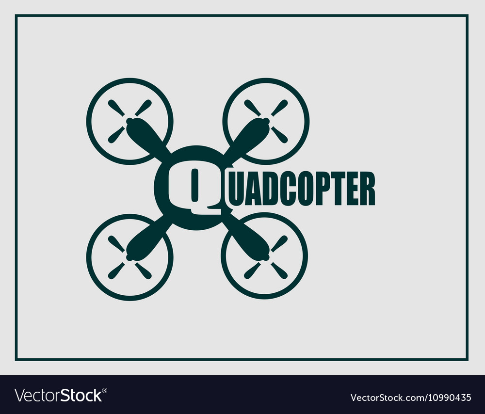 Drone quadrocopter icon Quadcopter text
