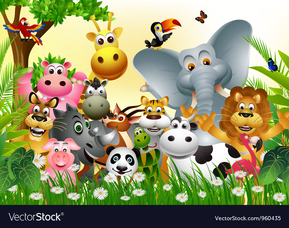 Funny animal cartoon Royalty Free Vector Image