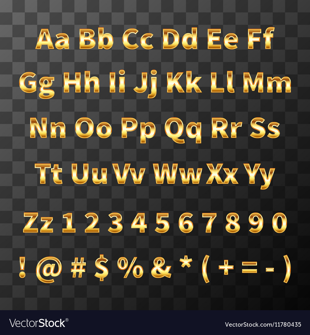 Glossy metal font Golden letters and numbers on