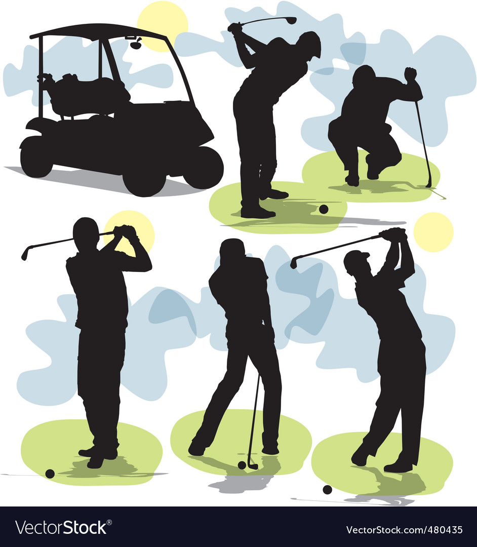 Golf Silhouettes Royalty Free Vector Image Vectorstock