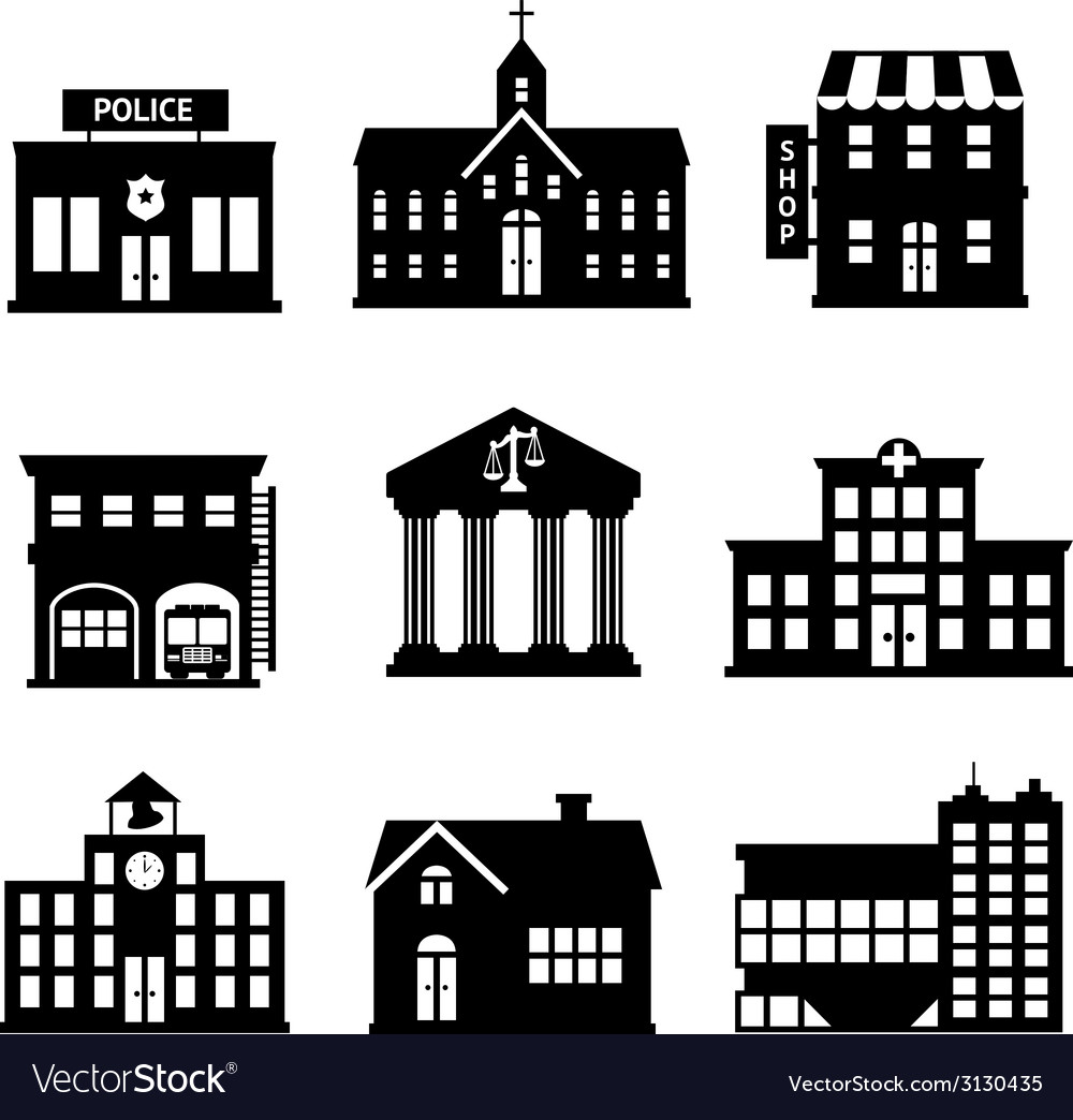 Government buildings black and white icons vector image