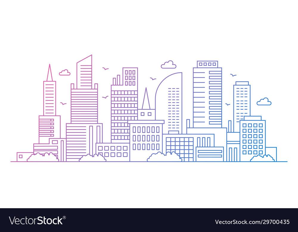Gradient color line art modern big city