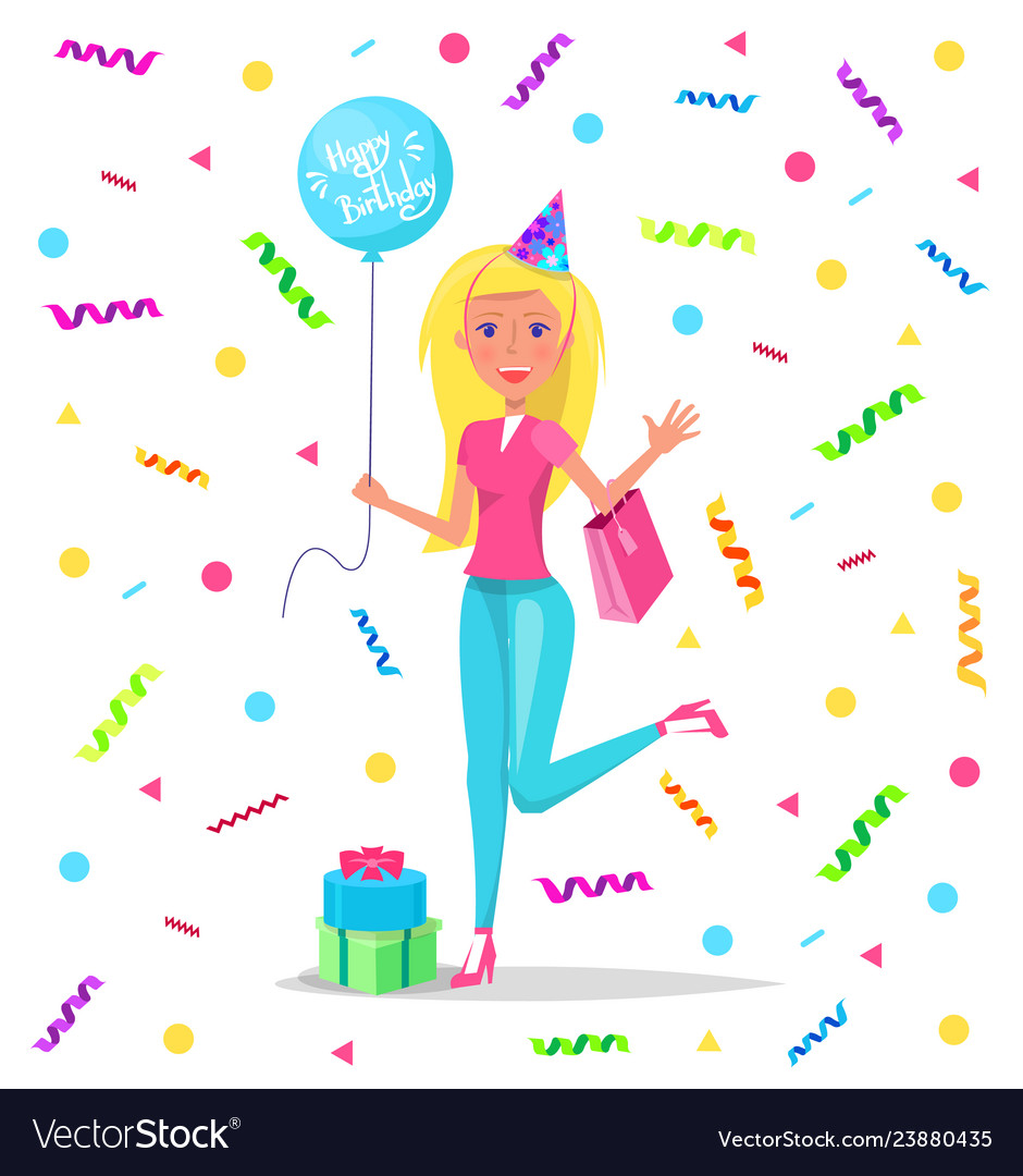 Happy Birthday Lady With Balloon On Lace Confetti Vector Image