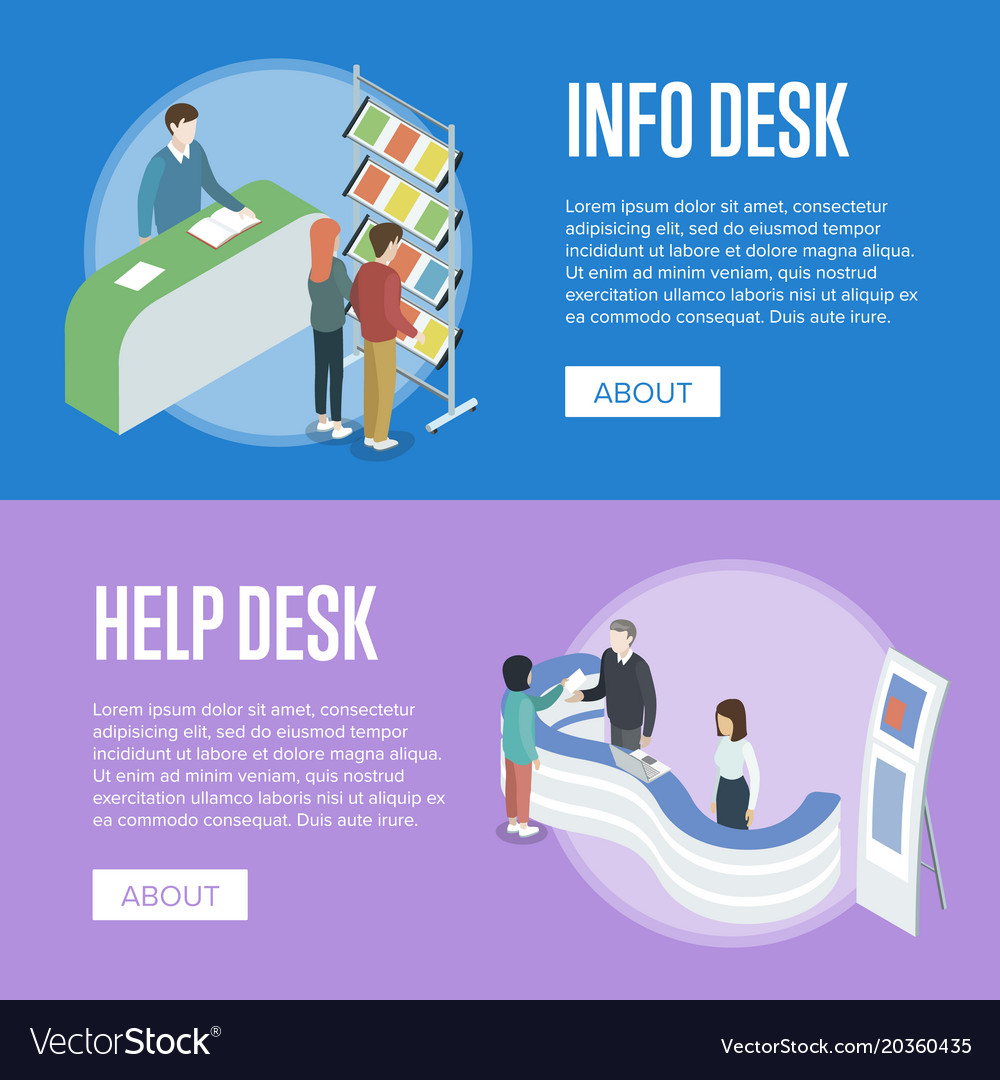 information and help desk isometric flyers vector image