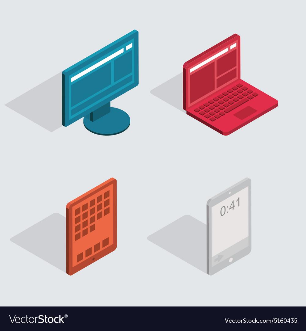Modern flat icons set Computer tablet