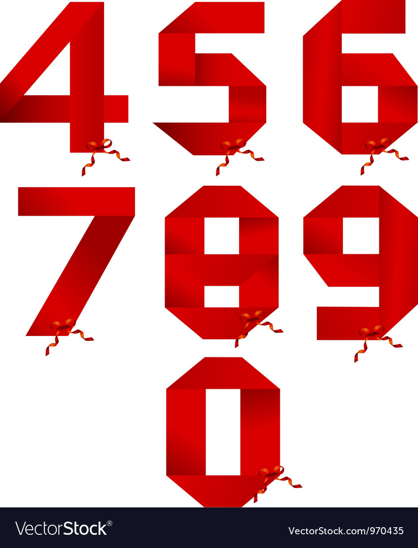 Ribbon numbers collection vector image