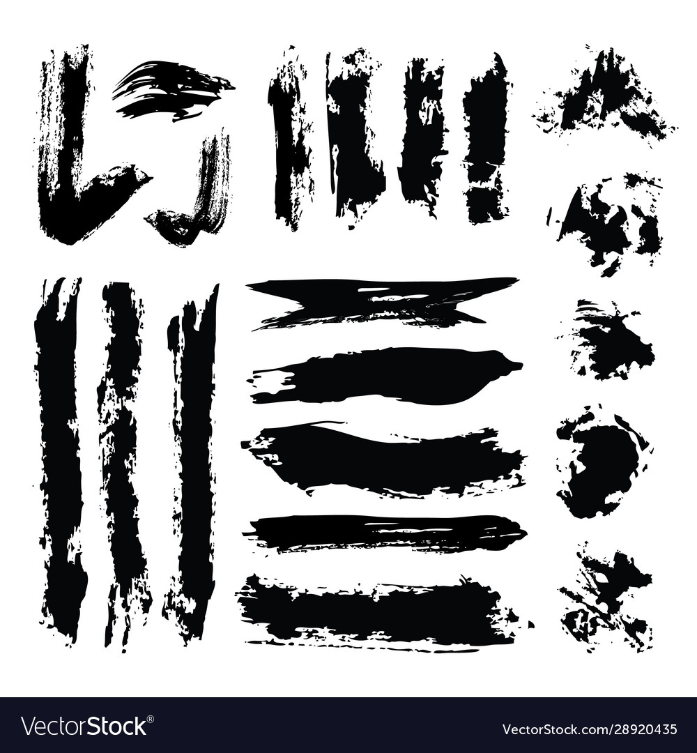 Set black ink grunge artistic brush