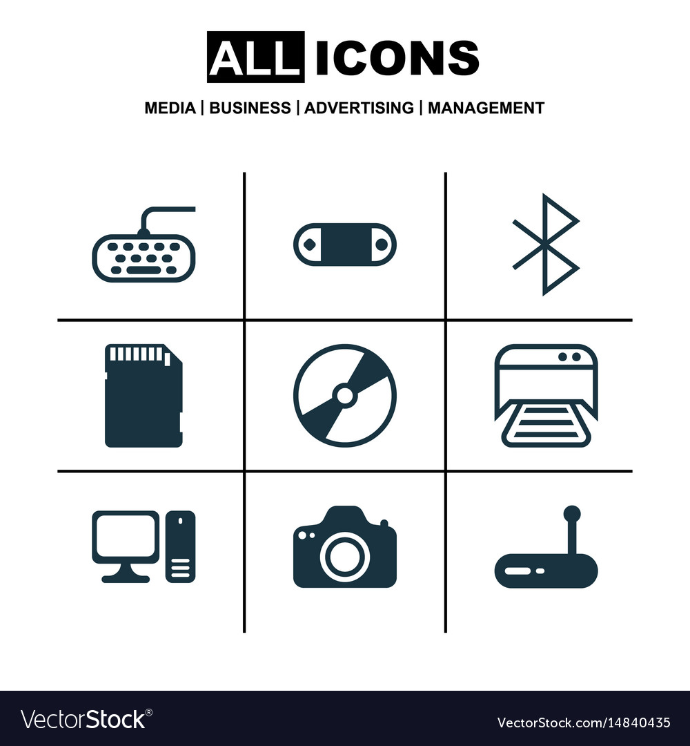 Set of 9 computer hardware icons includes cd-rom