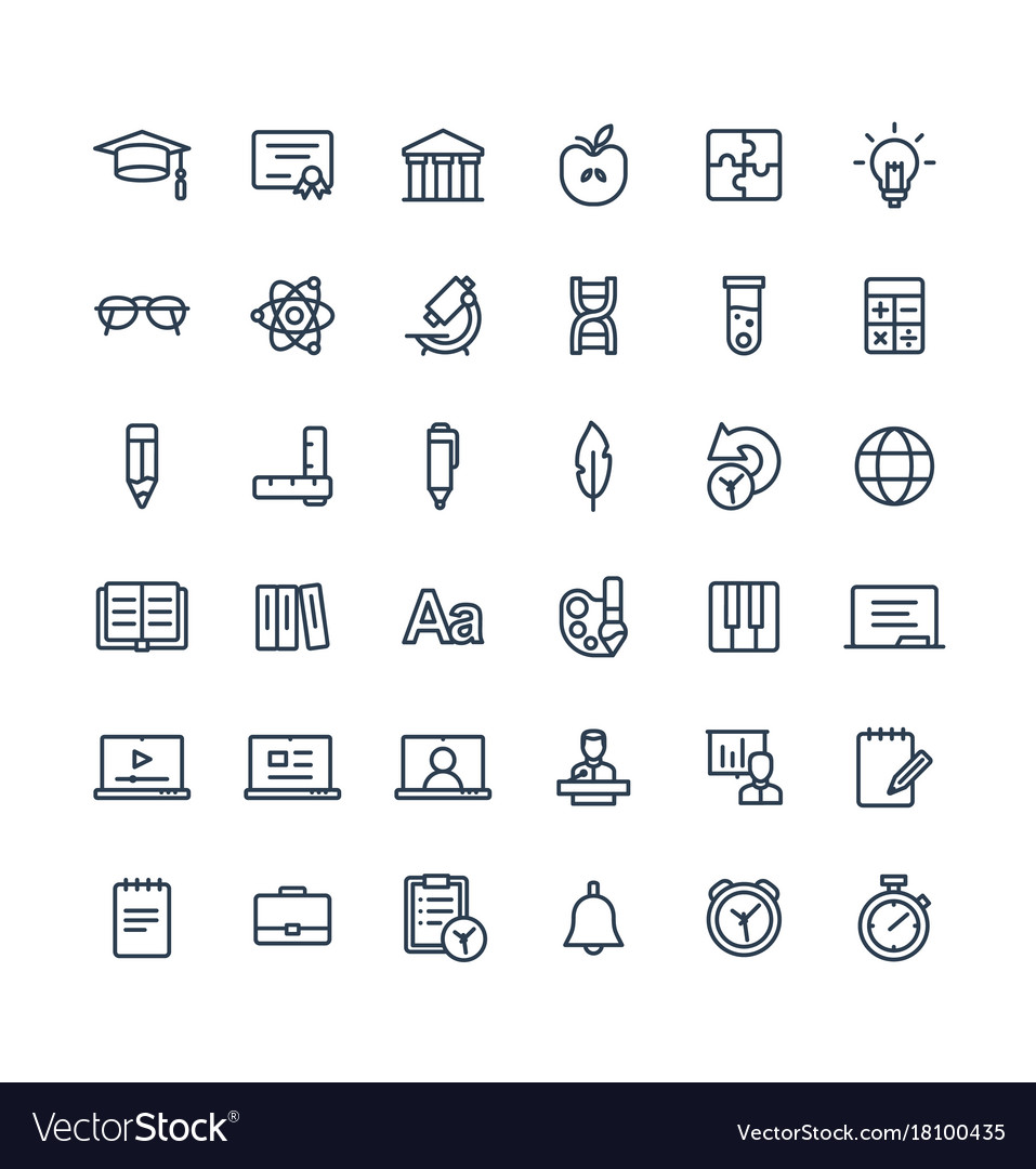 Thin line icons set with education online