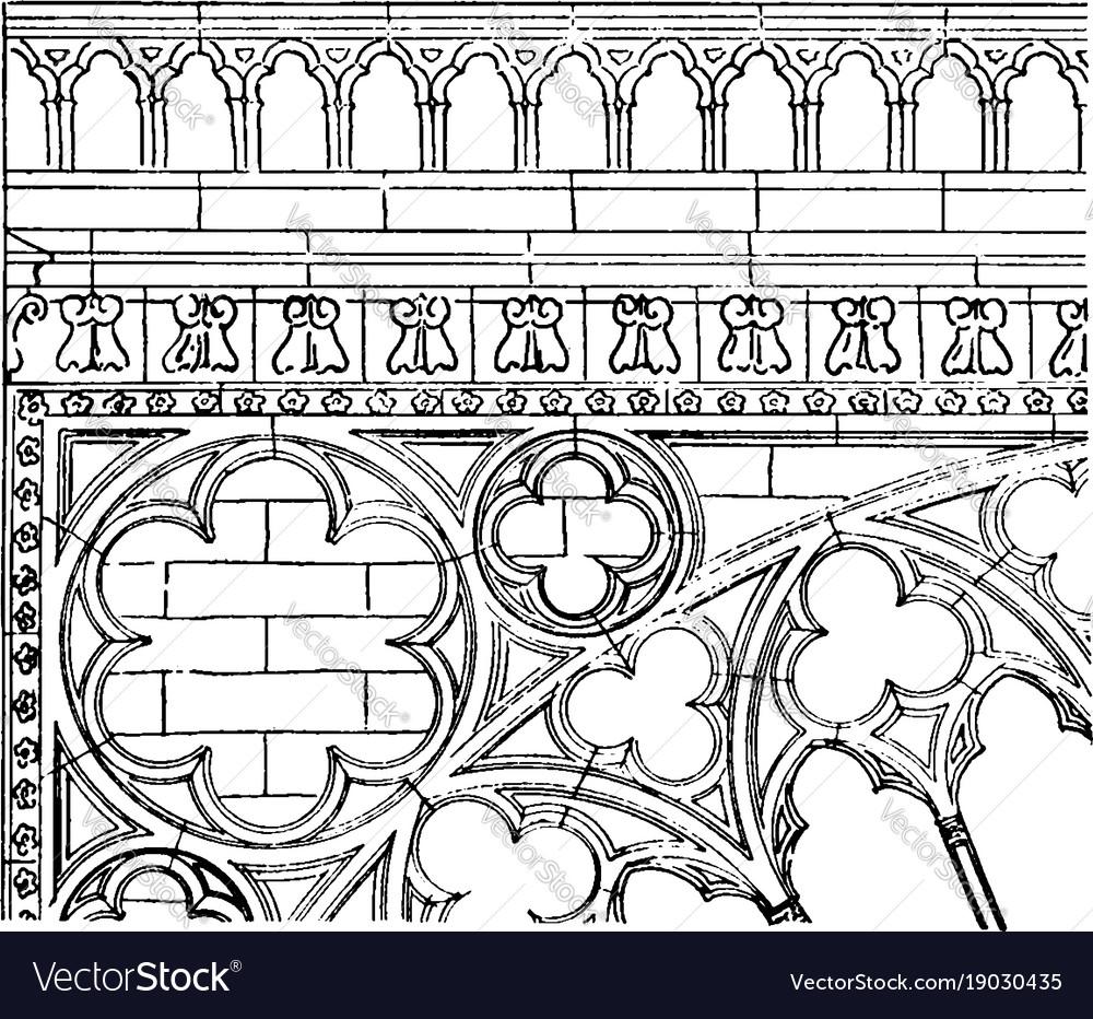 Transept carving transept of notre dame vintage vector image