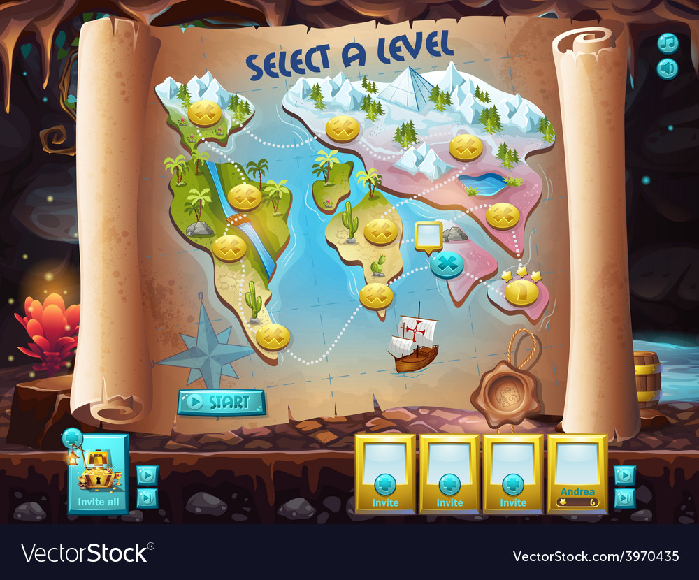User interface select the level to play treasure