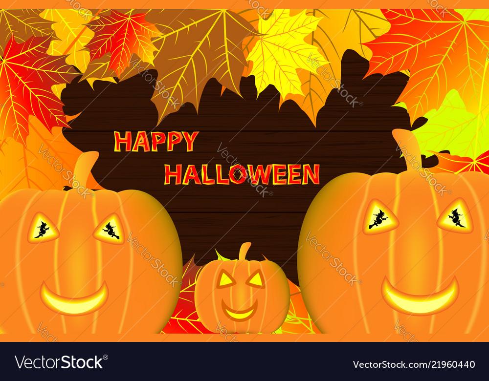 Autumn leaves and halloween pumpkins