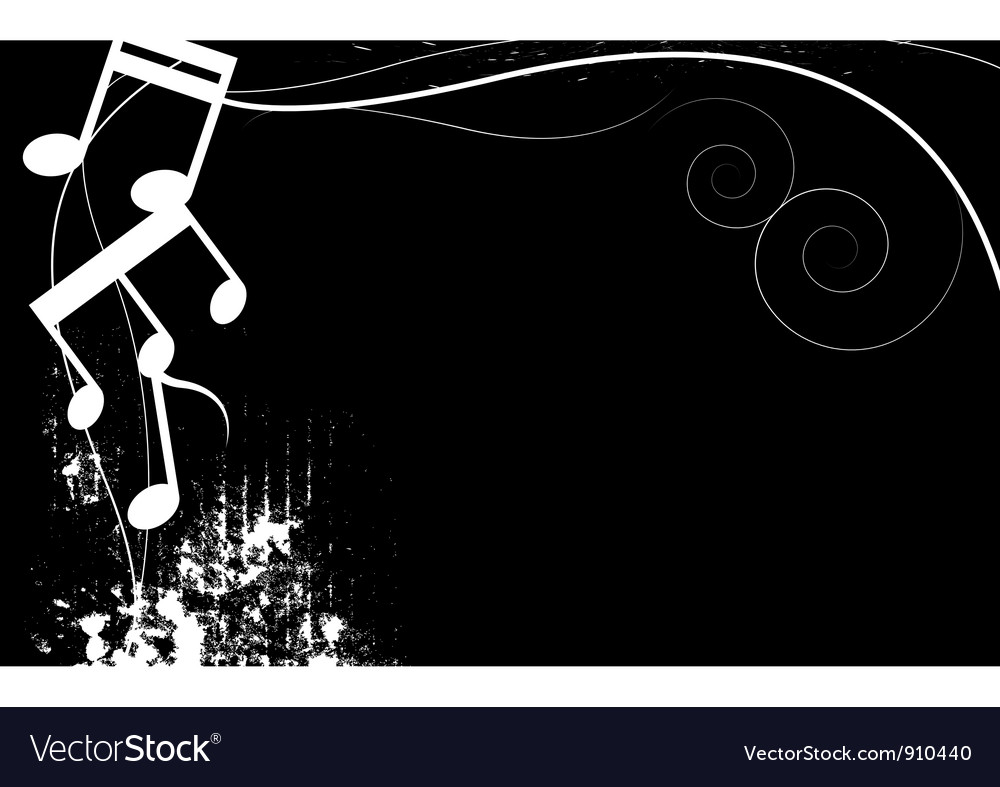 Black and white music grunge background vector image