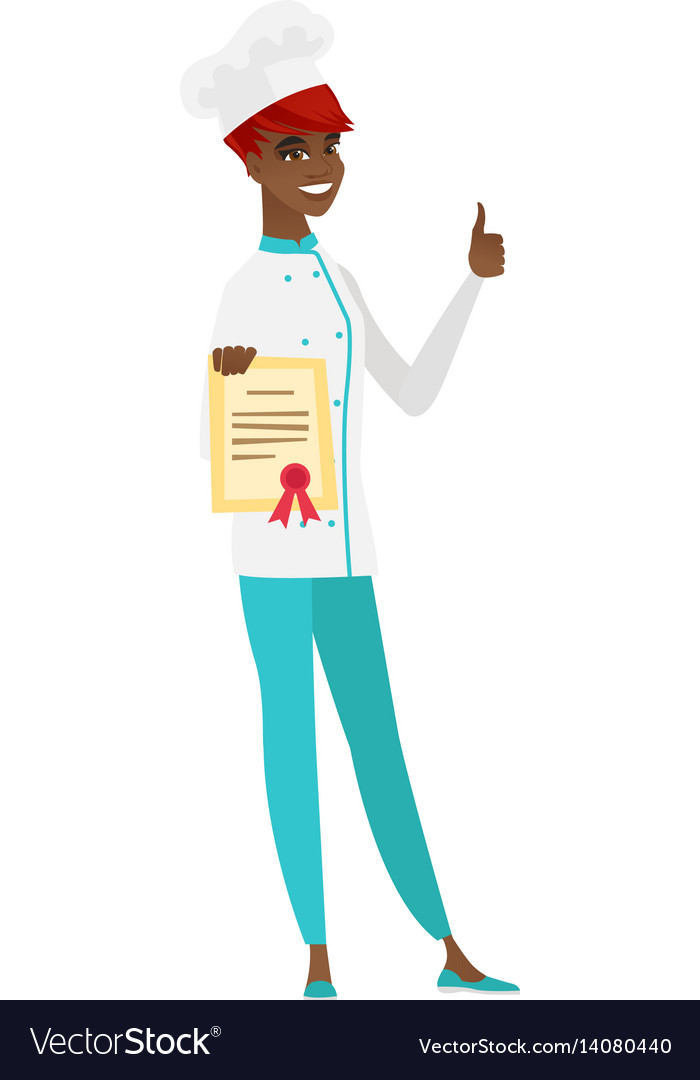 Chef cook showing certificate and thumb up vector image